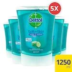 Dettol kézmosó utántöltő, hidratáló frissítő Uborkás illattal, 5 x 250 ml