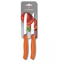 Комплект ножове Victorinox за домати и колбаси, вълнообразно острие, оранжеви 2 бр.