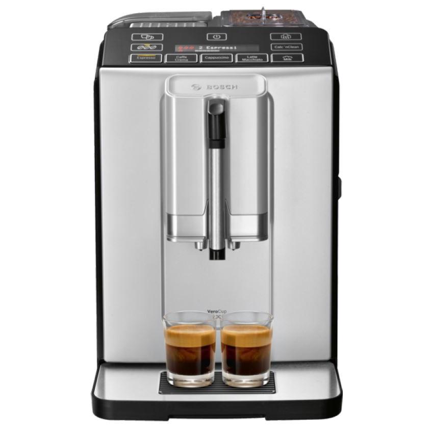Fotografie Espressor automat Bosch TIS30321RW, 1300W, 15 Bar, 1.4 l,Rasnita ceramica , dispozitivul spumare lapte MilkMagic Pro, AromaDouble Shot, Argintiu