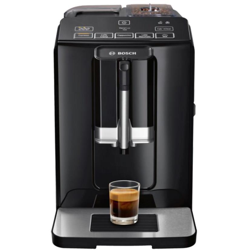 Fotografie Espressor automat Bosch TIS30129RW, 1300W, 15 Bar, 1.4 l, Rasnita ceramica, dispozitivul spumare lapte MilkMagic Pro, Negru