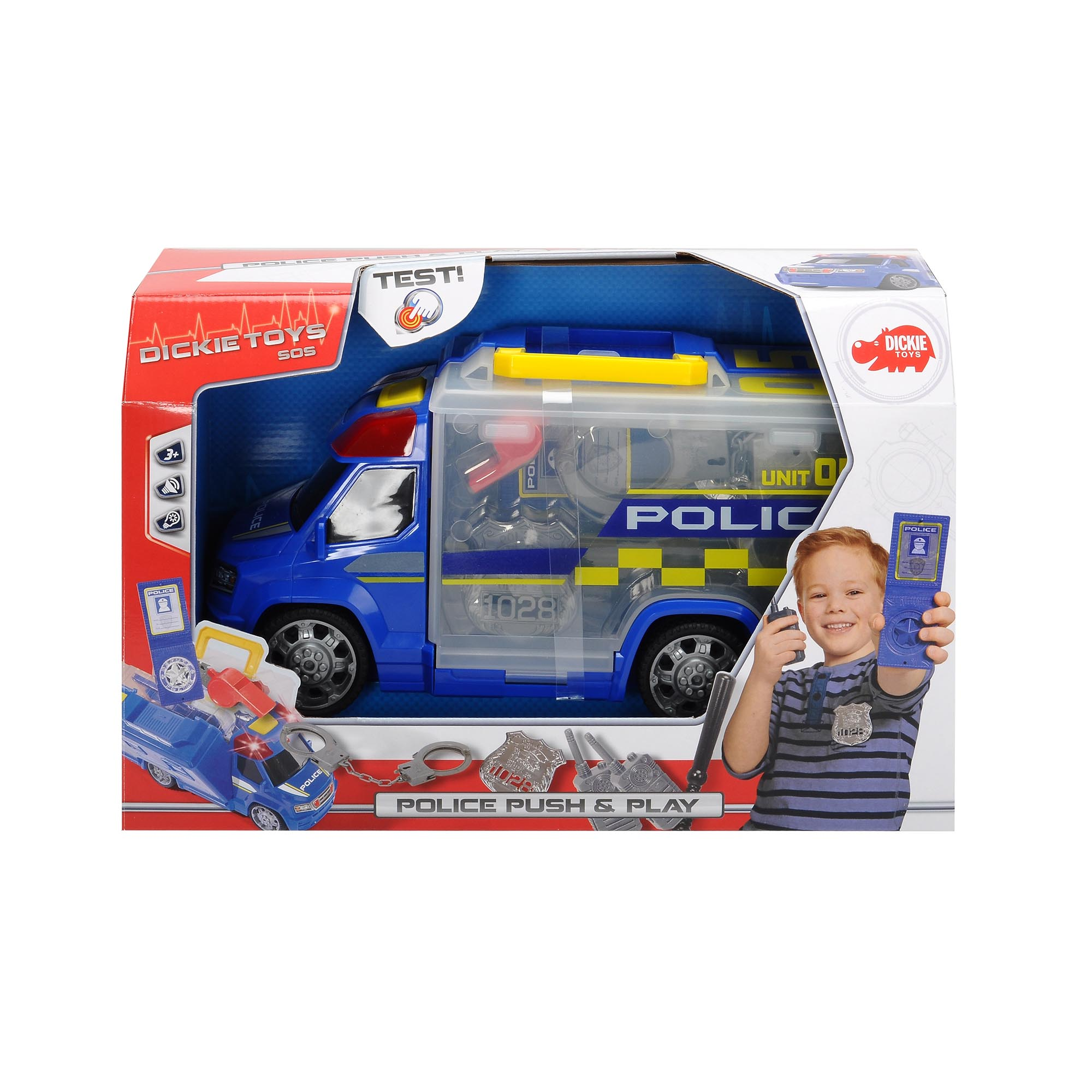 Fotografie Masina Dickie Toys Push & Play Police Squad, 33 cm