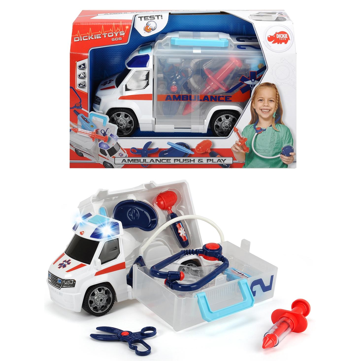 Fotografie Ambulanta Dickie Toys Push & Play, cu accesorii doctor