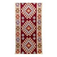 Szőtt szőnyeg Golden Daisy 100200R, 100 x 200 cm, Piros