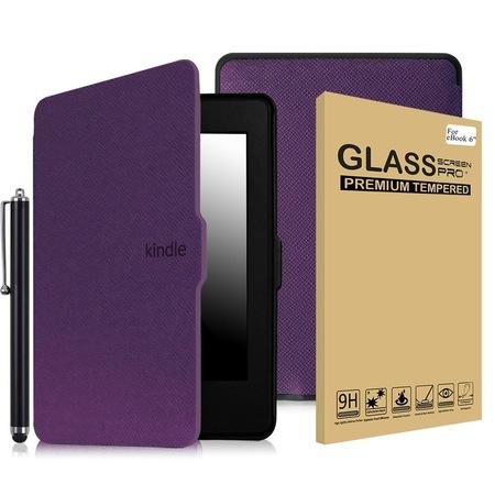 Комплект калъф Smart за Kindle Paperwhite, Стъклен протектор, Писалка, Лилав