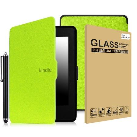 Комплект калъф Smart за Kindle Paperwhite, Стъклен протектор, Писалка, Зелен