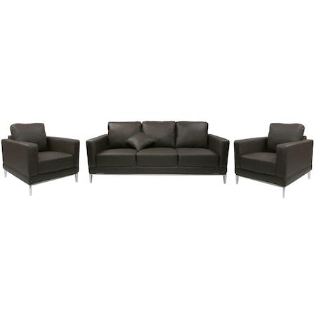 Комплект мебели за всекидневна Kring: Диван + 2 Фотьойла, Кафяви, Естествена кожа