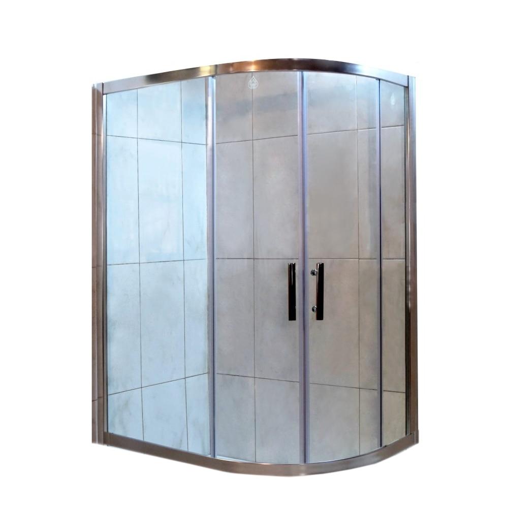 Fotografie Paravan de dus semirotund Belform Clear, usa culisanta, profil cromat, sticla securizata, 120 x 80 cm