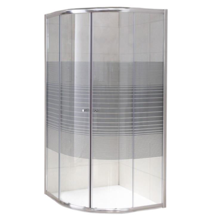 Fotografie Paravan dus semirotund Belform Grid, usi culisante, profi cromat, sticla securizata, 90x90 cm