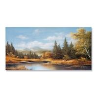 Картинa Канава Artfoyer - Пейзаж, хълмове, дървета, есен, 50 x 100 см