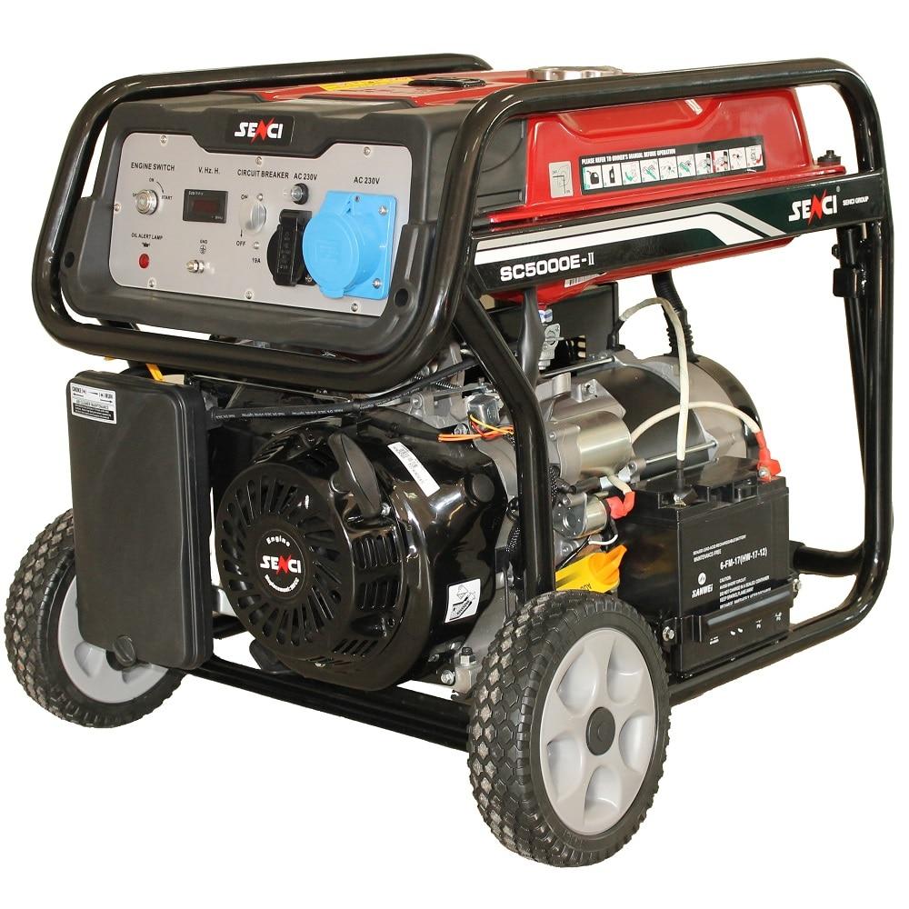 Fotografie Generator de curent Senci SC-5000E TOP, 4500 W, 230 V, stabilizator de tensiune (AVR), motor benzina cu demaraj electric, 13.5 h autonomie maxima