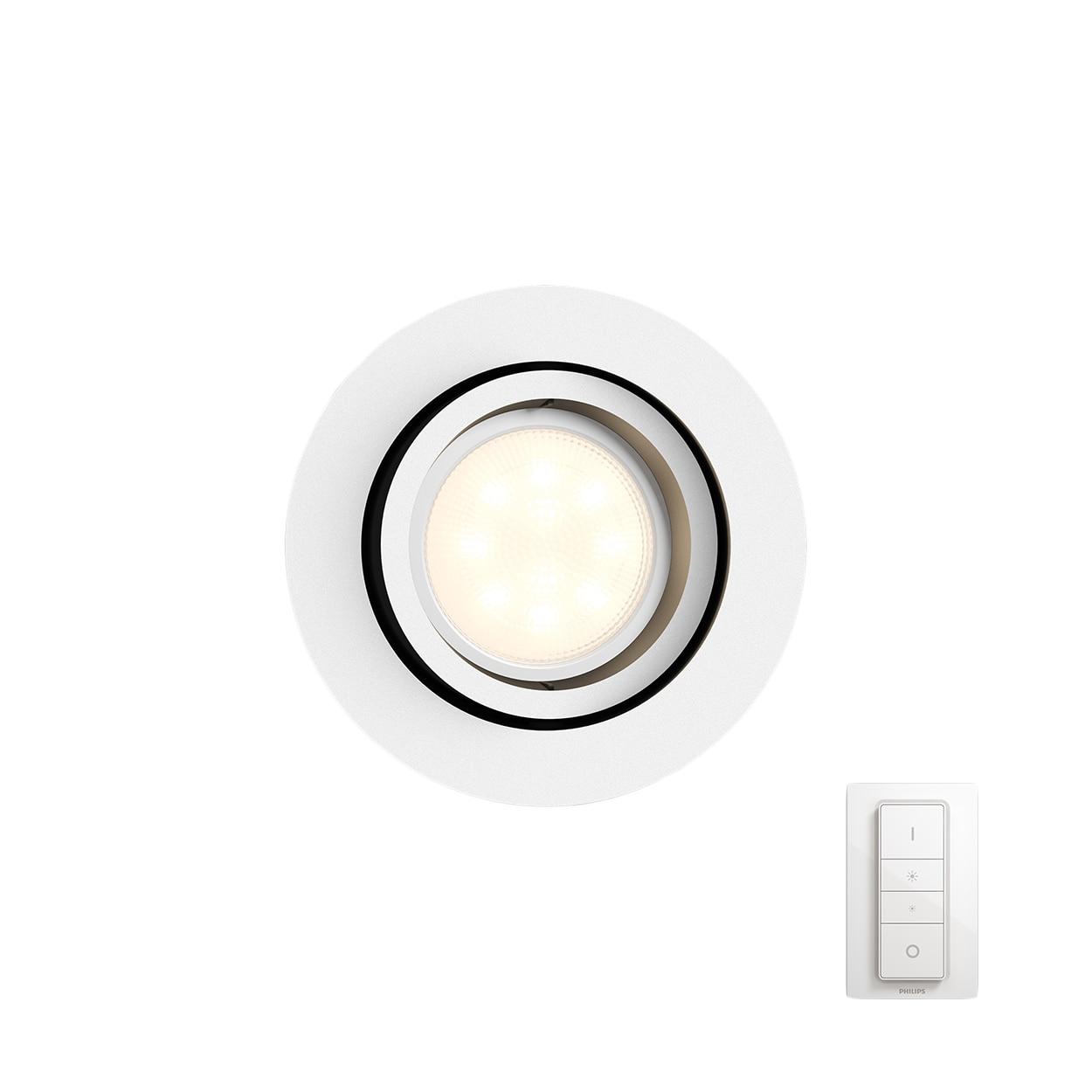 Fotografie Spot inteligent LED Philips Hue MILLISKIN, rotund, GU10, 5.5W (25W), 250 lm, A++, IP20, Alb, Dimmer switch inclus