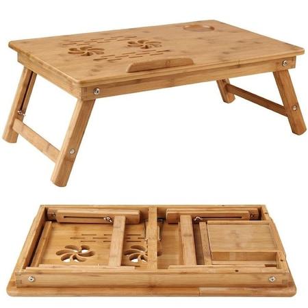 Masuta stand din lemn bambus cu 2 coolere pentru laptop