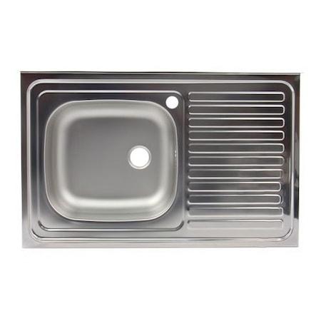 Egymedencés mosogató Z-INOX ZLN-8631ST, Nem beépíthető, jobb oldali csepegtető, Vízkőelleni rozsdamentes acél, 50x80 cm