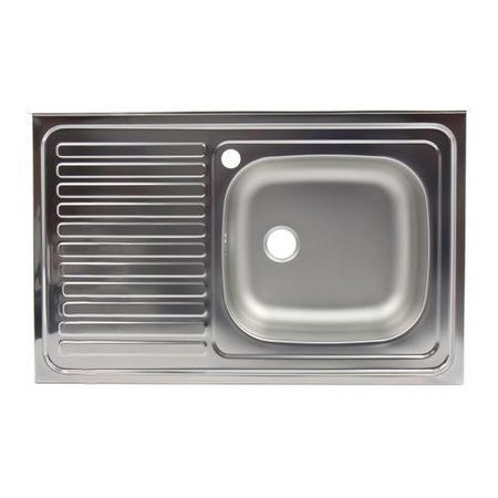 Egymedencés mosogató Z-INOX ZLN-8631DR, Nem beépíthető, Bal oldali csepegtető, Vízkőelleni rozsdamentes acél, 50x80 cm