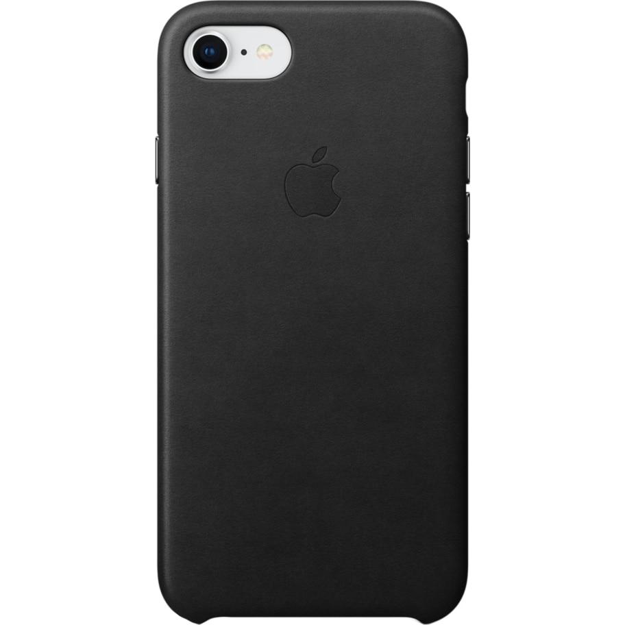 Fotografie Husa de protectie Apple pentru iPhone 8 / iPhone 7, Piele, Black