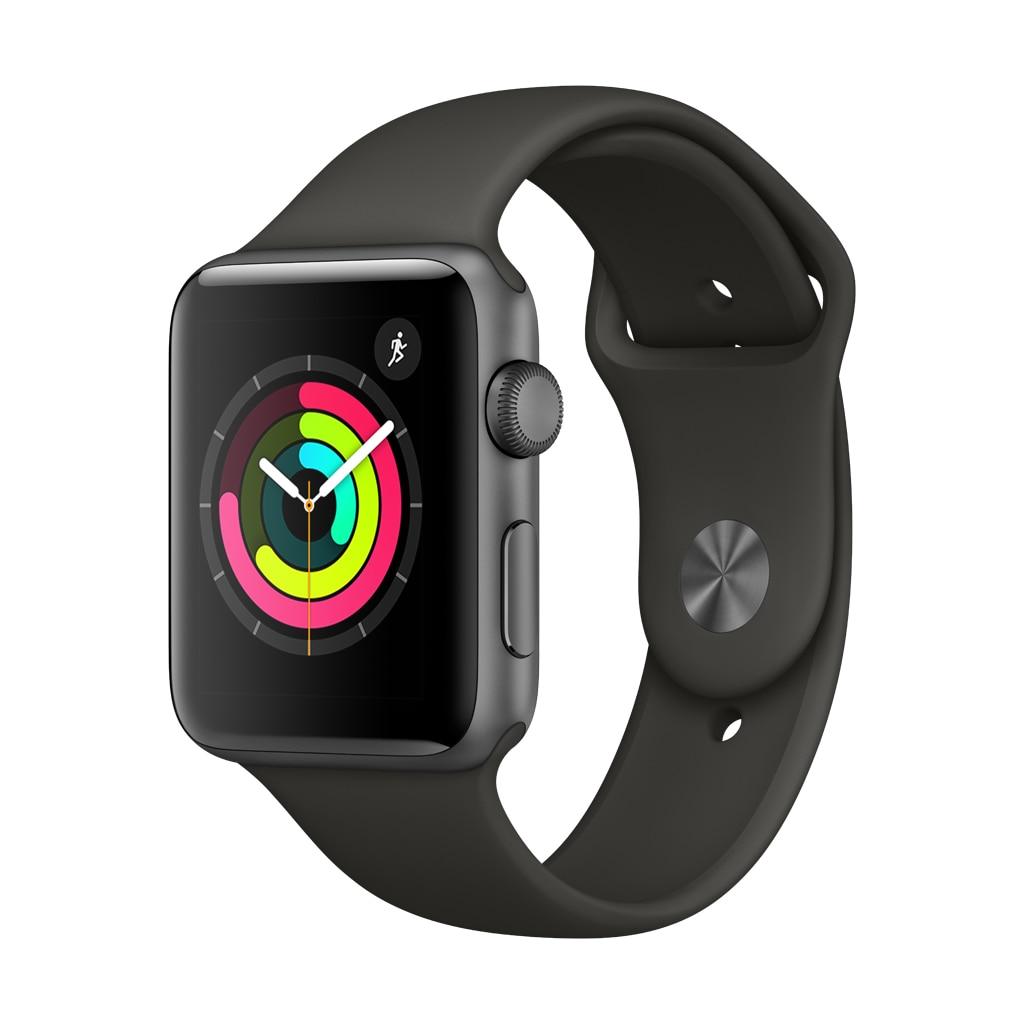 Fotografie Apple Watch 3, GPS, Carcasa Space Grey Aluminium 42mm, Grey Sport Band