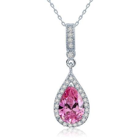 Csepp alakú lila gyémánt nyaklánc - 925 ezüst ékszer