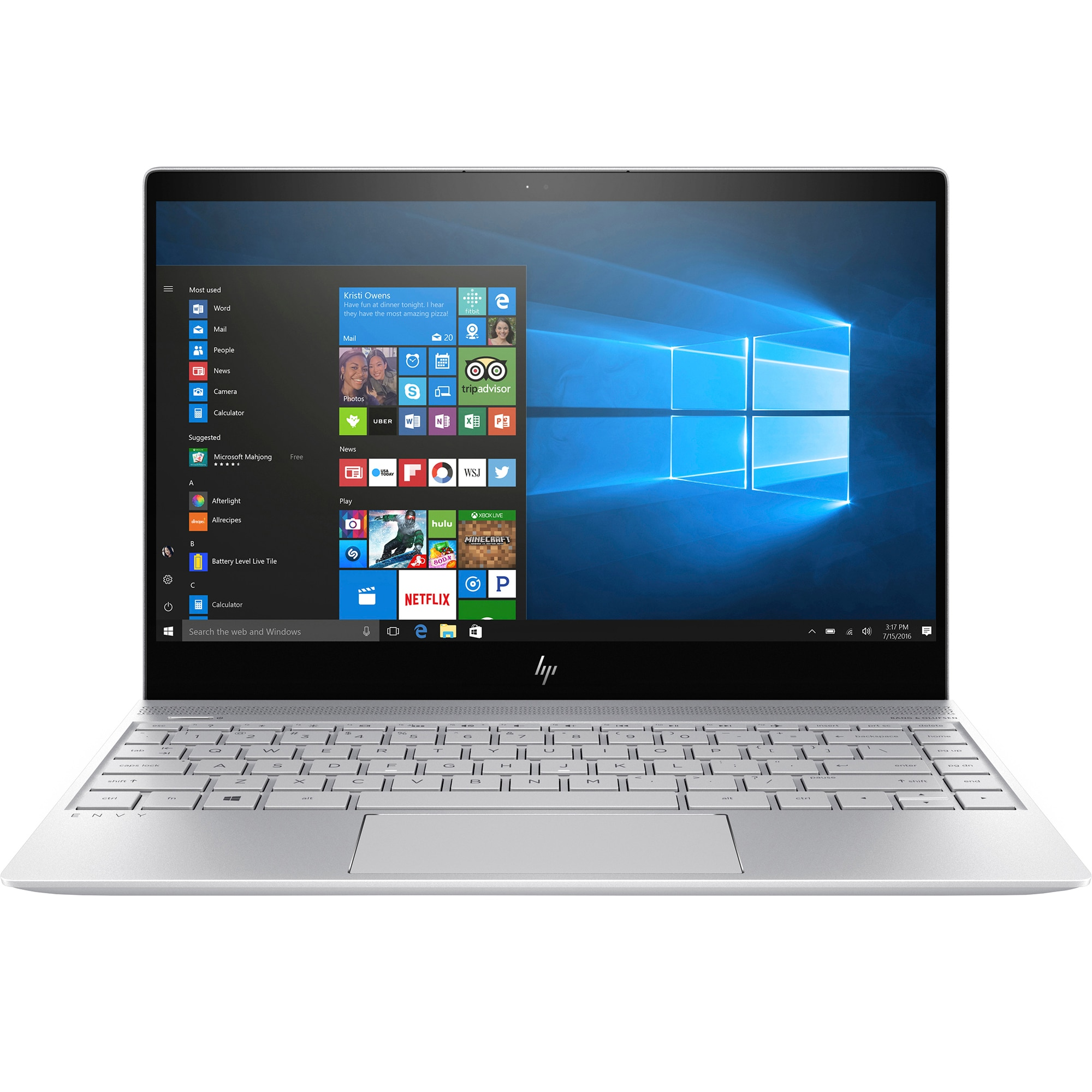 "Fotografie Laptop HP ENVY 13-ad004nn cu procesor Intel® Core™ i5-7200U pana la 3.10 GHz, Kaby Lake, 13.3"", Full HD, IPS, 8GB, 256GB, Intel® HD Graphics, Microsoft Windows 10, Silver"