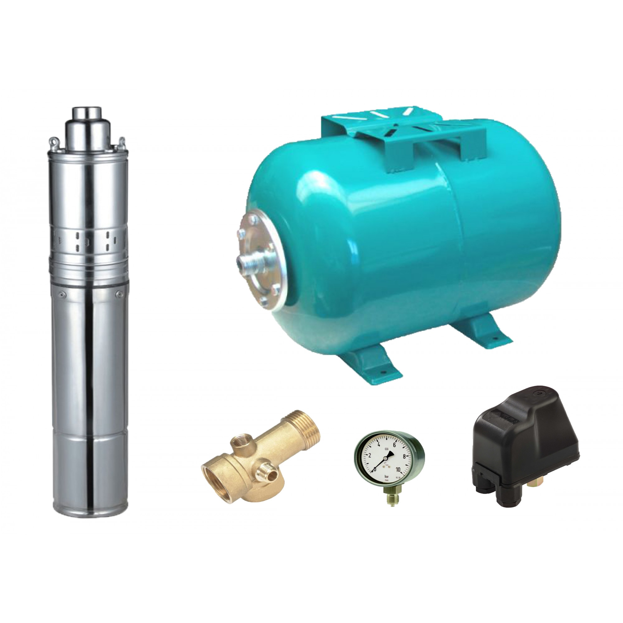 Fotografie Kit complet sistem hidrofor, pompa submersibila apa curata cu surub Maxima 03034020/50, rezervor de 50 litri, presostat, racord 5 cai, manometru, 370 W, 30 l/min debit maxim