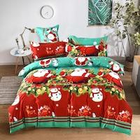 GGT- 7 részes Pamut Ágynemű zöld piros színben karácsonyi mintával.
