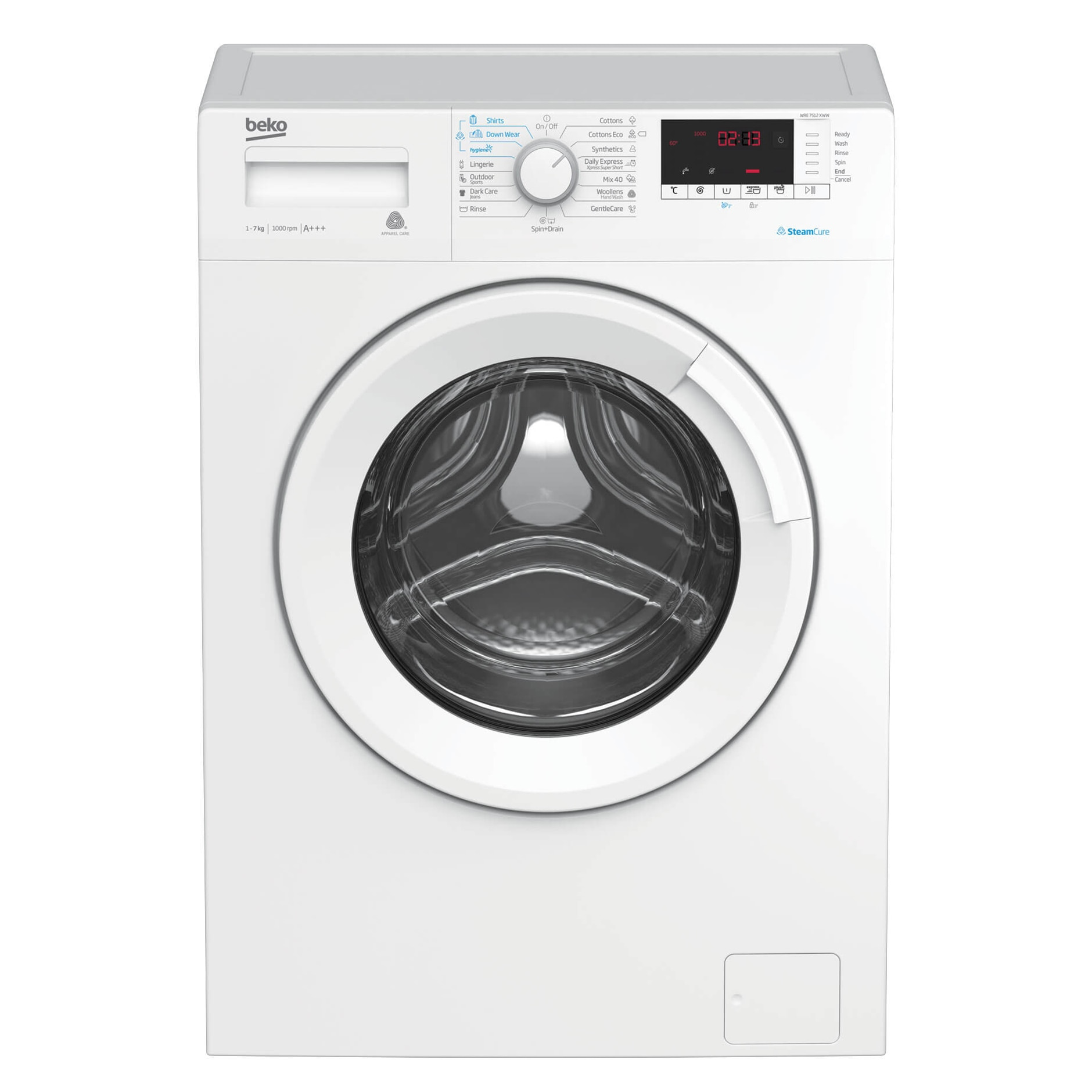 Fotografie Masina de spalat rufe Slim Beko WRE7512XWW, 7 kg, 1000 RPM, Clasa A+++, Steam Cure, Display digital, Alb