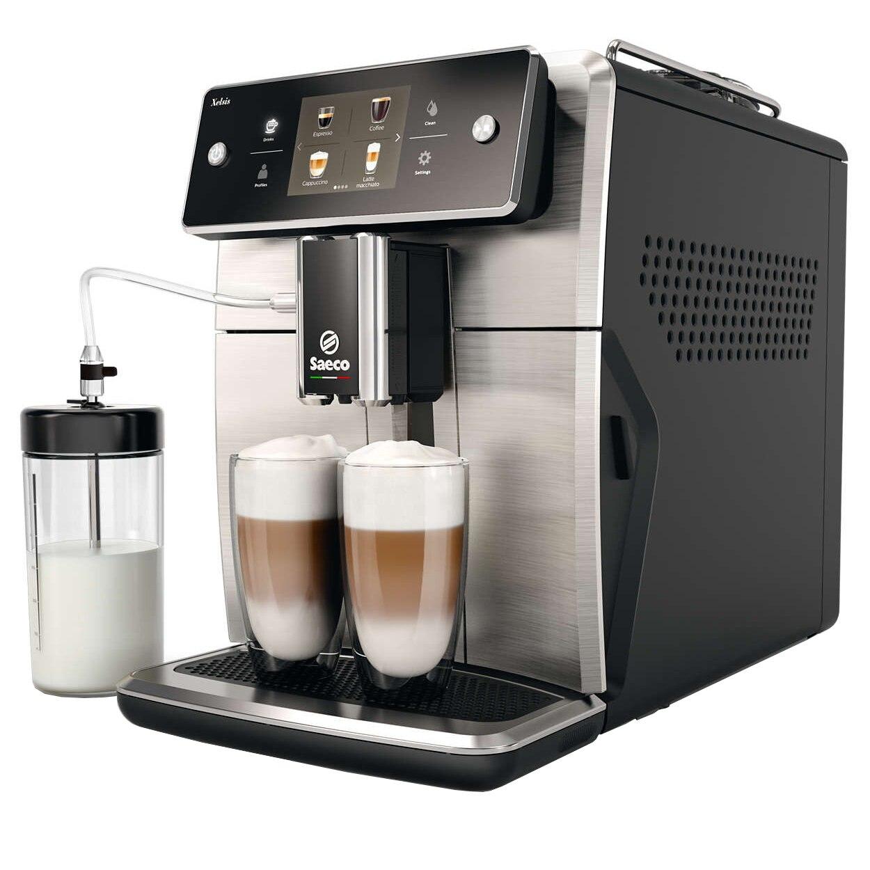 Fotografie Espressor automat Saeco Xelsis SM7683/00, Ecran tactil cu Coffee Equalizer, Sistem Latteduo, 15 selectii , 6 profiluri, Rasnita ceramica cu 12 trepte, AquaClean, Negru/Inox