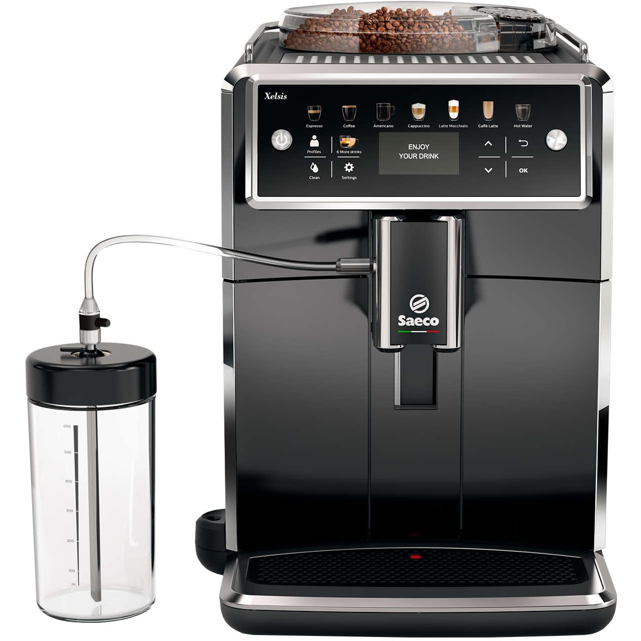 Fotografie Espressor automat Saeco Xelsis SM7580/00, Sistem Latteduo, 12 selectii, 5 setari intensitate, Rasnita ceramica cu 12 trepte, AquaClean, Afisaj LCD, Negru