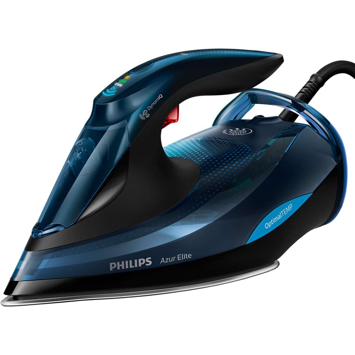 Fotografie Fier de calcat Philips Azur Elite GC5034/20, 3000 W, Talpa SteamGlide Plus, Tehnologie OptimalTEMP, 65 g/min, Jet de abur vertical, Albastru/Negru