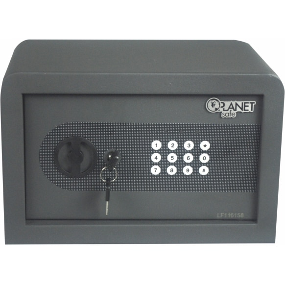 Fotografie Seif electronic si cheie Planet Safe 25AT, 250 x 350 x 250 mm, Otel, Negru