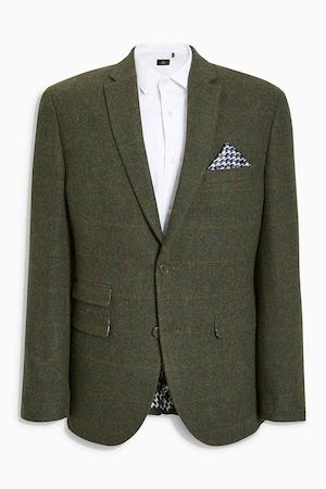 NEXT, Вталено сако с вълна, Тъмнозелен, 36S
