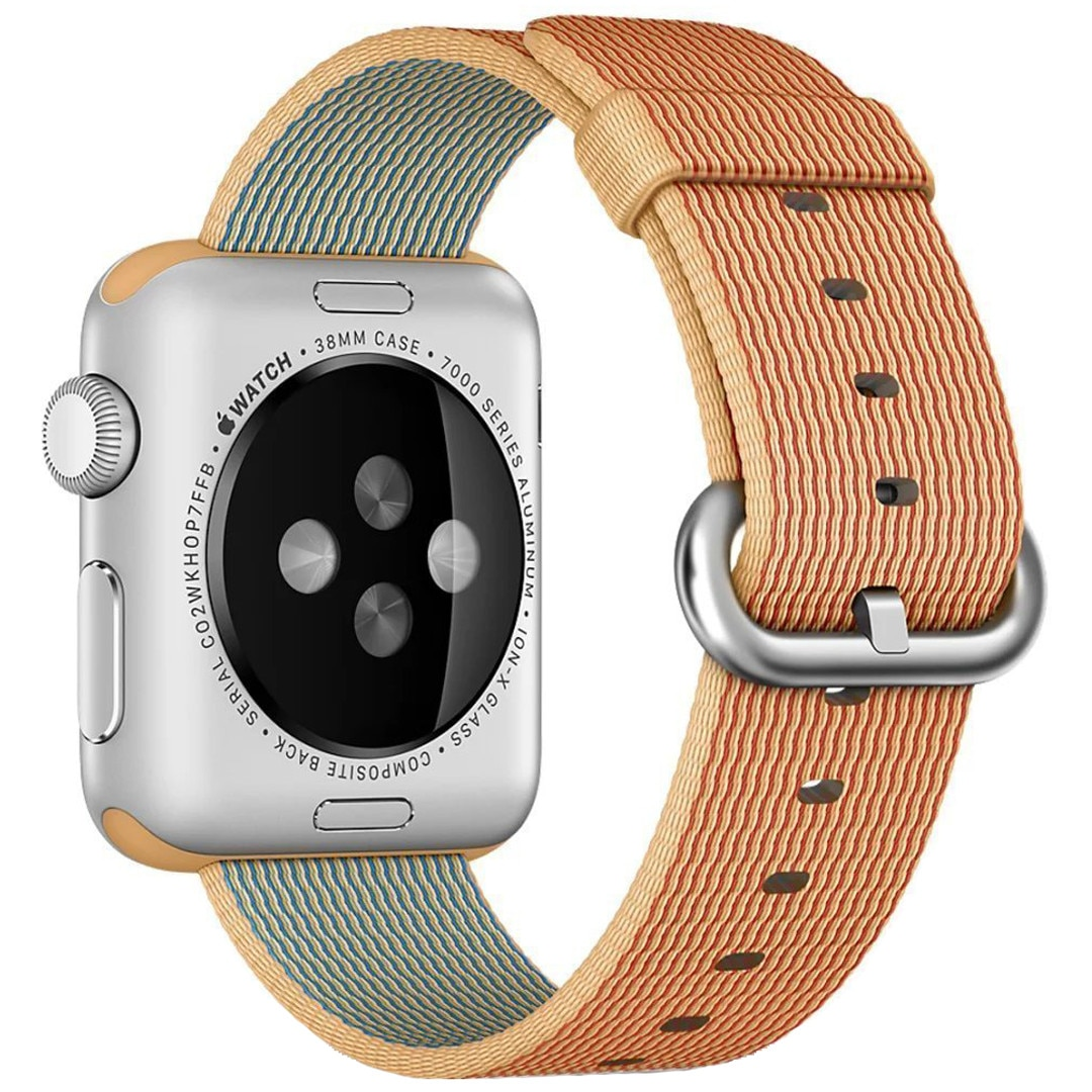 Fotografie Curea iUni pentru Apple Watch 42 mm, Woven Strap, Nylon, Gold/Red