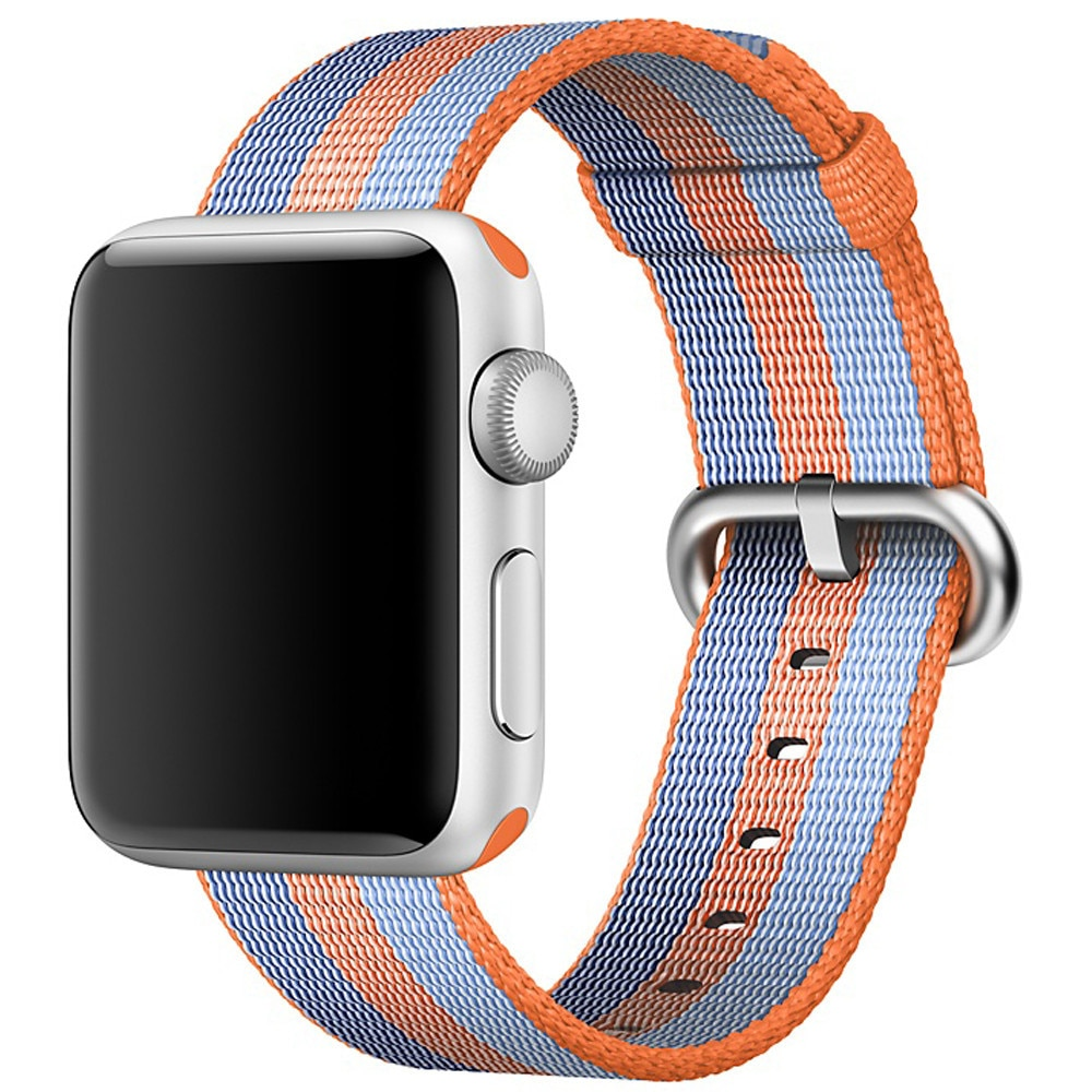 Fotografie Curea iUni pentru Apple Watch 38 mm, Woven Strap, Nylon, Orange/Blue