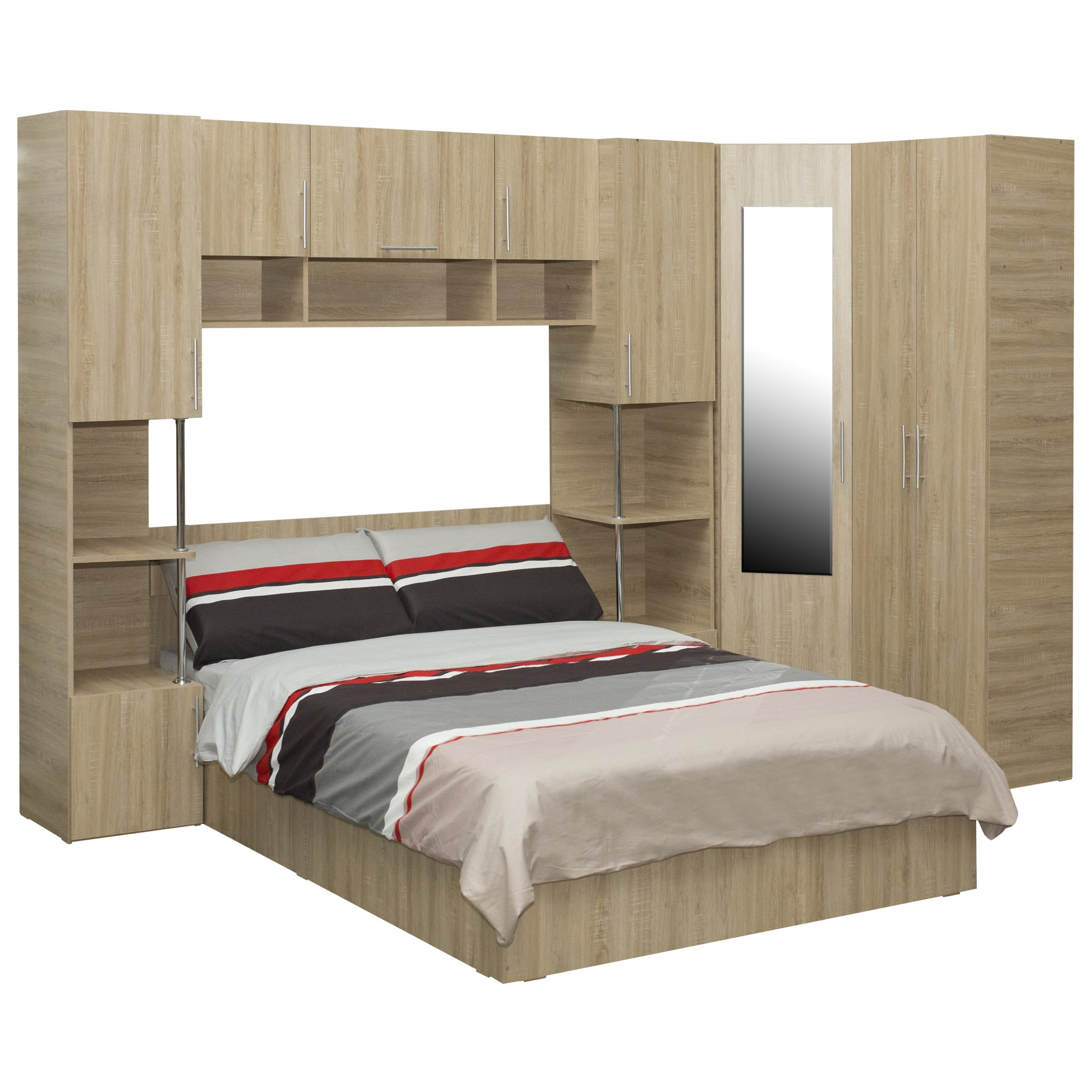 Fotografie Dormitor complet Kring Yasmine, 295x200x200 cm, Sonoma