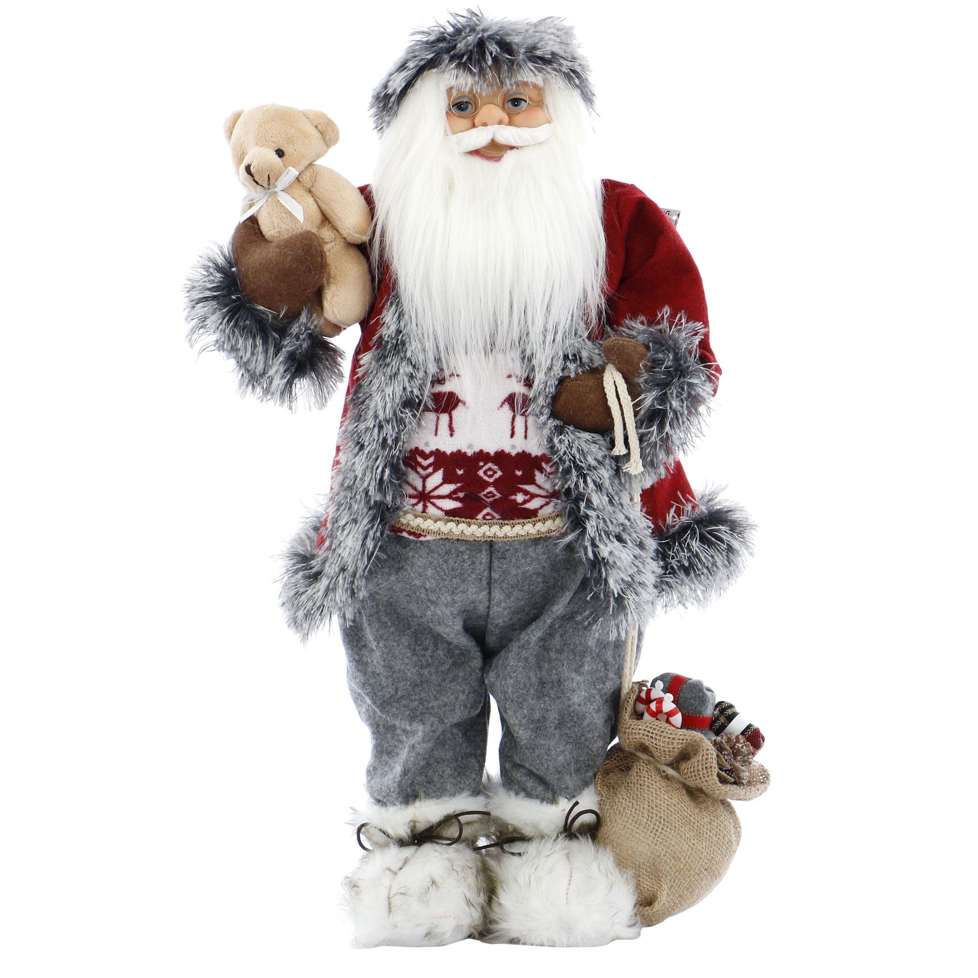 Fotografie Mos Craciun Kring, cu ursulet si sac de cadouri, vesta rosie, 61 cm, Alb / Rosu