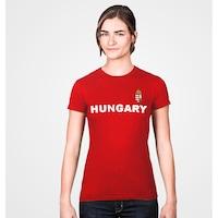 Hungary feliratos piros női szurkolói póló - S-es méret