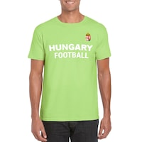 Hungary Football feliratos világoszöld, unisex szurkolói póló - XL-es méret