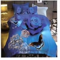 GGT- 7 részes pamut ágyneműhuzat kék színben pillangó rózsa minta