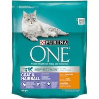 Суха храна за котки Purina One, Coat & Hairball, Пилешко, 800 гр