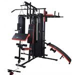 Aparat multifunctional FitTronic HG800, 4 posturi de lucru, sac de box, manusi, banca de exercitii, 73 kg greutati incluse.