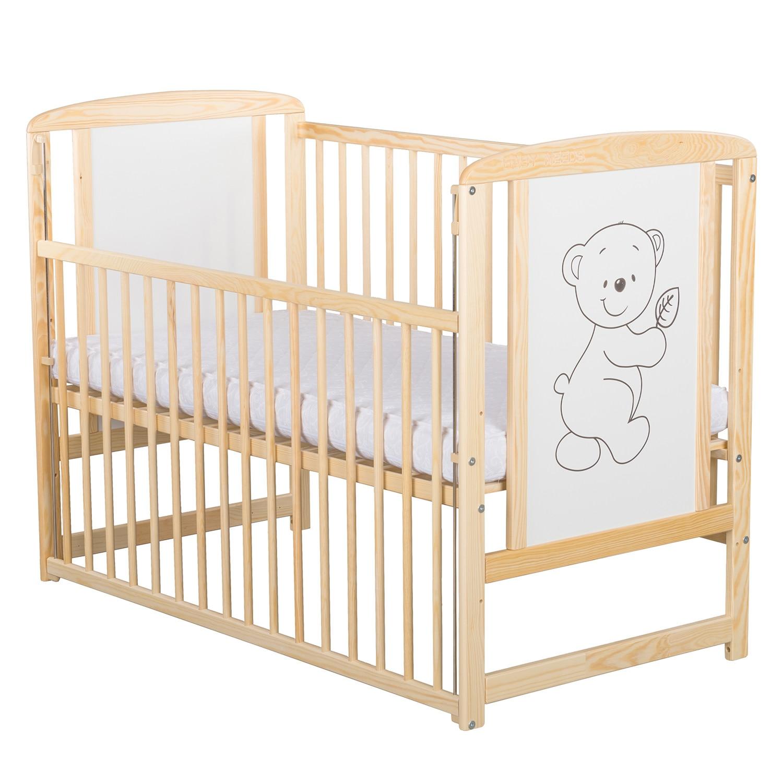Fotografie Patut din lemn BabyNeeds Timmi, cu laterala culisanta, 120x60 cm, Natur