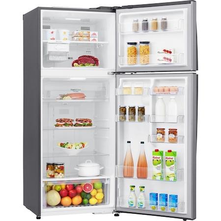 Хладилник с 2 врати LG GTB574PZHZD, 438 л, Клас E, Дисплей LED, No Frost, Компресор Liniar, Smart Diagnosis, Wifi, Охлаждане на вратата, H 178 см, Сребрист