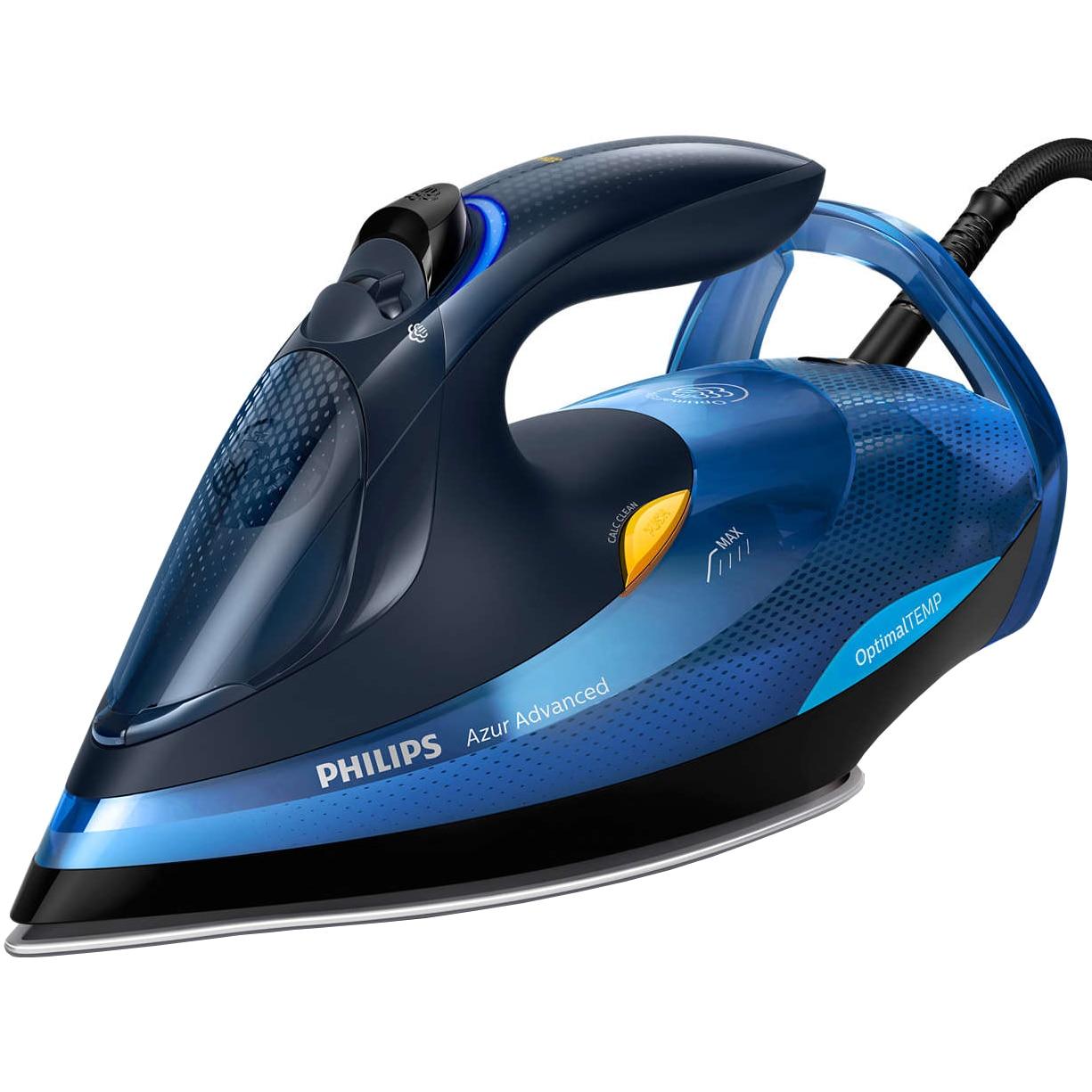 Fotografie Fier de calcat Philips Azur Advanced GC4932/20, 2600 W, Talpa SteamGlide Plus, Tehnologie OptimalTEMP, Curatare automata, Negru/Albastru