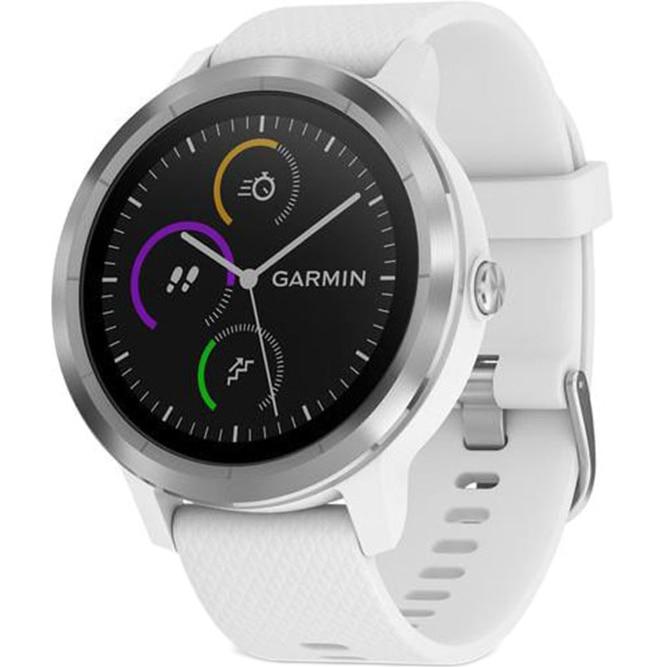 Fotografie Ceas smartwatch Garmin Vivoactive 3, HR, GPS, Silver, Silicone White