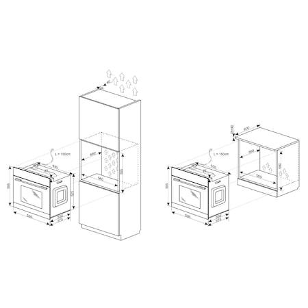 Cuptor incorporabil Hansa BOEI68462, Electric, 62 l, Clasa A, Grill, Display, Inox