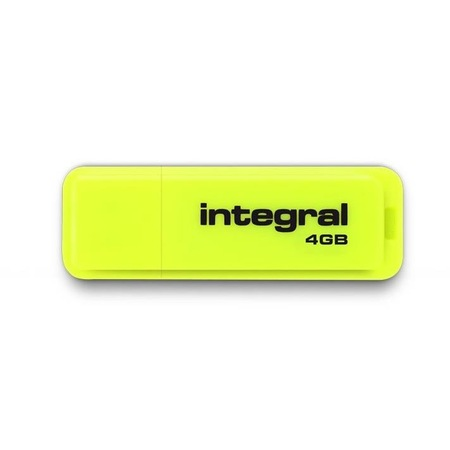 Integral USB Flash Drive Neon 4GB USB 2.0 Yellow