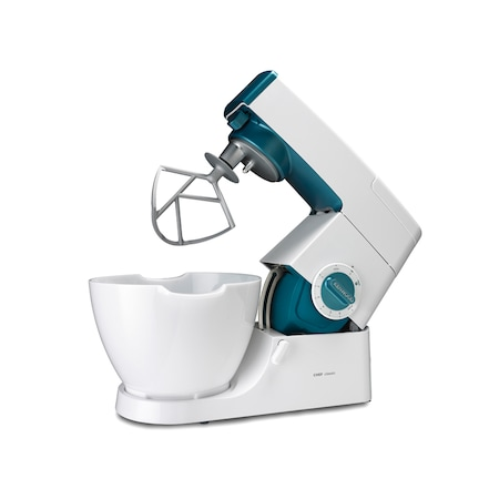 Robot de bucatarie Kenwood Classic Chef KM353, 800 W, bol 4.6 l, viteza variabila + Pulse, Alb/Albastru