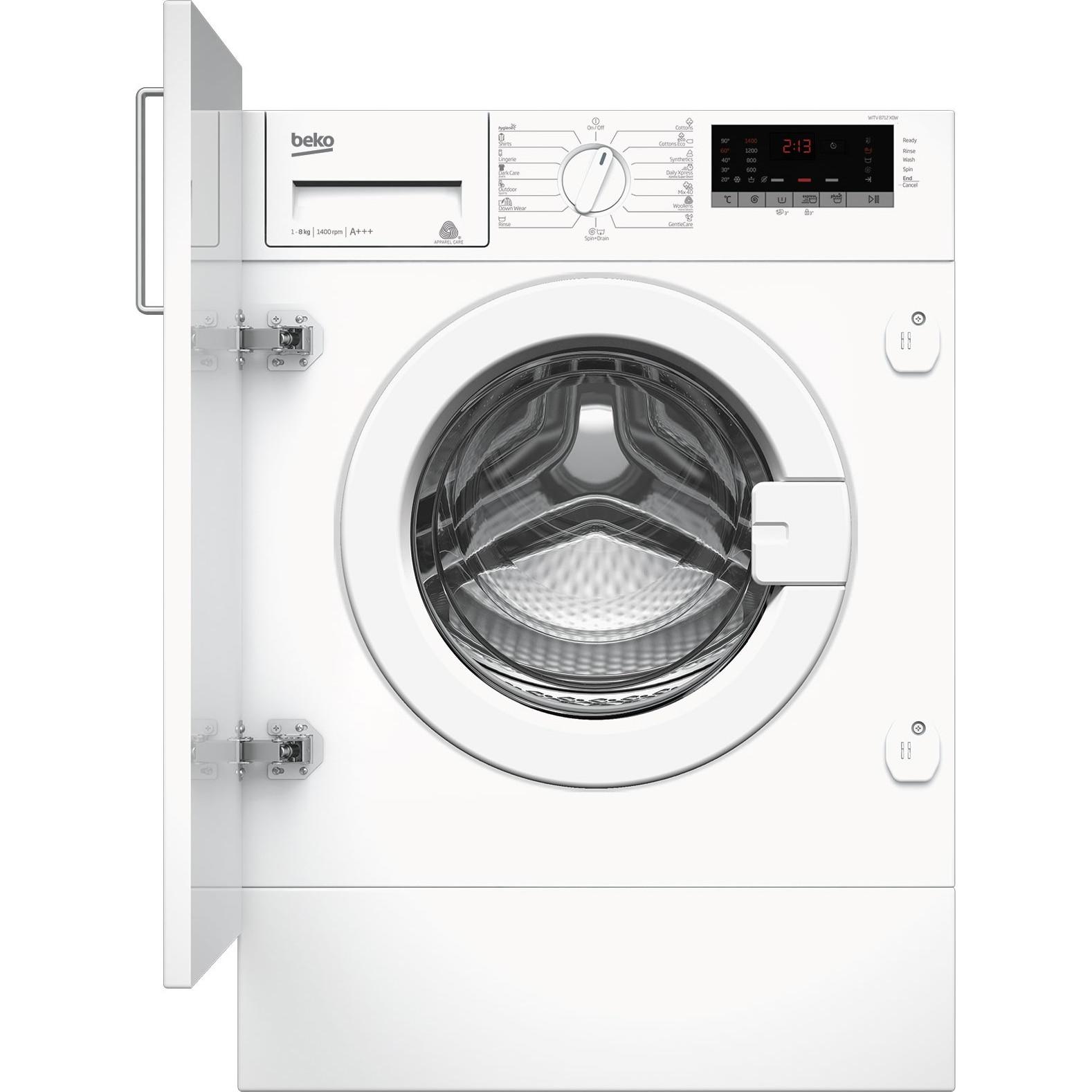 Fotografie Masina de spalat rufe incorporabila Beko WITV8712X0W, 8 kg, 1400 RPM, Clasa A+++, Display LED, Alb
