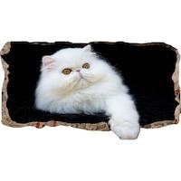 Startonight 3D Fotótapéta Fehér macska, világít a sötétben, 220 x 120 cm