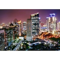 Startonight Fotótapéta Felhőkarcoló,Sötétben világító 183 x 128 cm