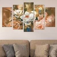 Картина-пано за стена Iwidecor, 5 части,Арт цветя, PVC 5мм., Размер S 108x60 см.
